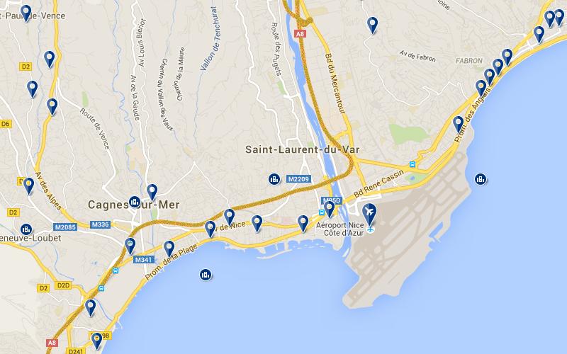 Carte avec position des hôtels proches de l'aéroport